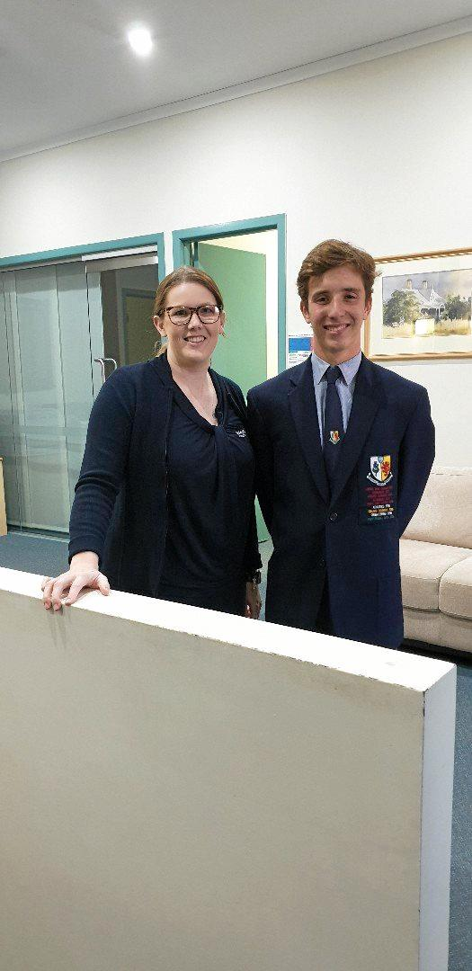 CONGRATULATIONS: Warwick Credit Union marketing officer Sam Beckhouse with May junior sports star winner Ewan McFarland.