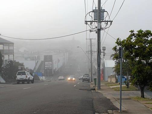 GREY START: Heavy fog blankets Gympie CBD on Friday morning.