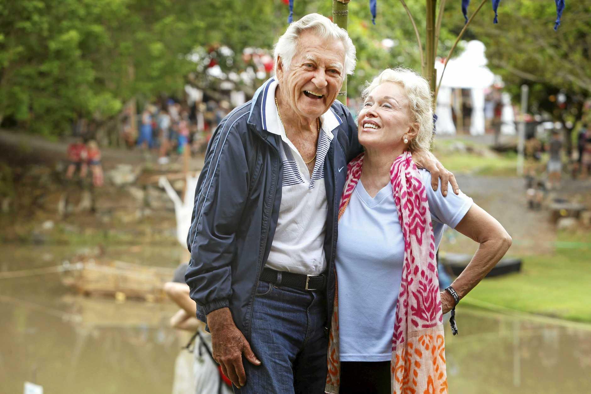 Bob Hawke and wife Blanche d'Alpuget at Woodford folk festival. Pic Megan Slade