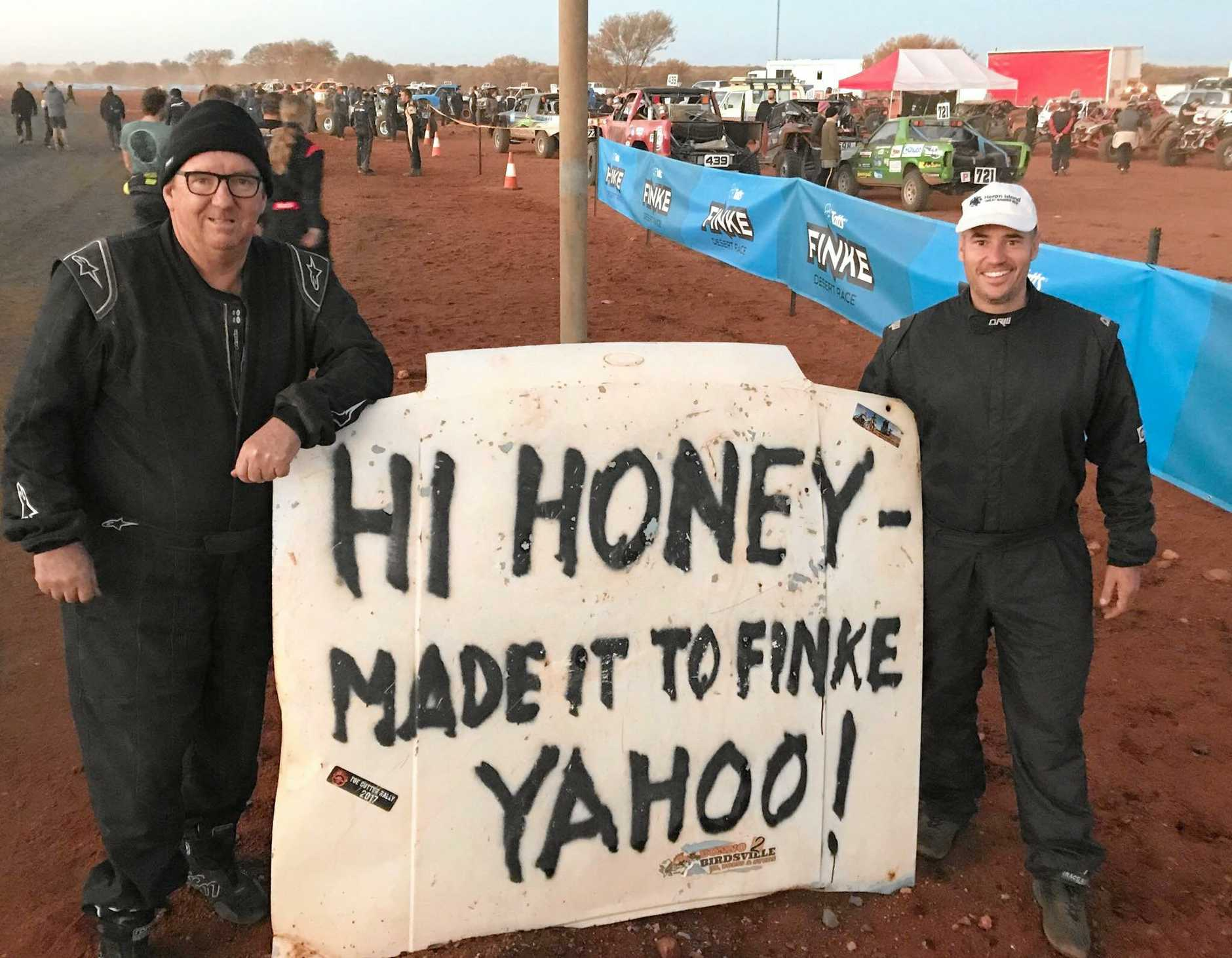 The RSL RAEMUS Rover Off-Road Racing Team entered three cars in the 2019 Finke Desert Race. Jim Dwyer and Morgan Appleby.