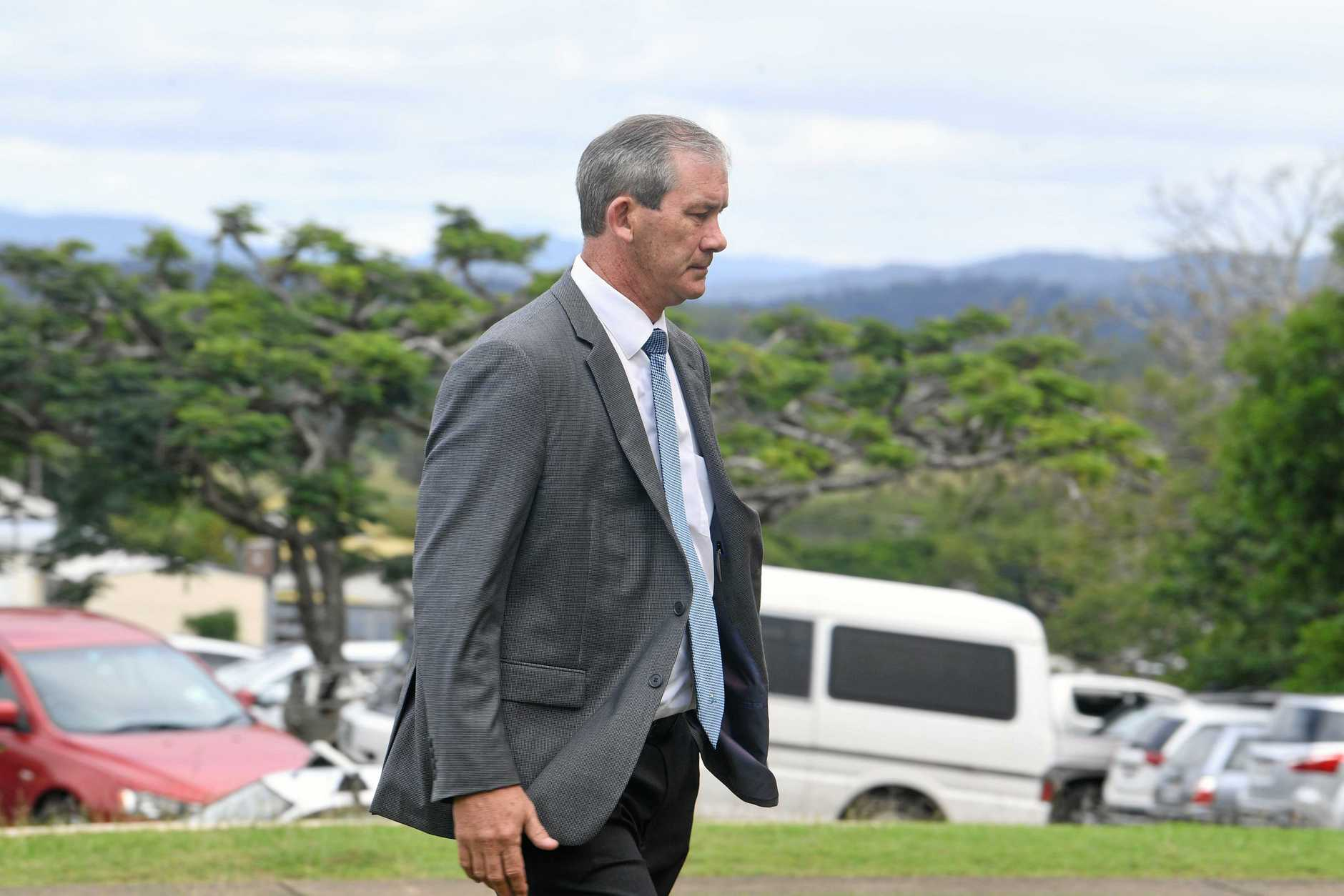 Gympie Mayor Mick Curran walks into Gympie District Court House