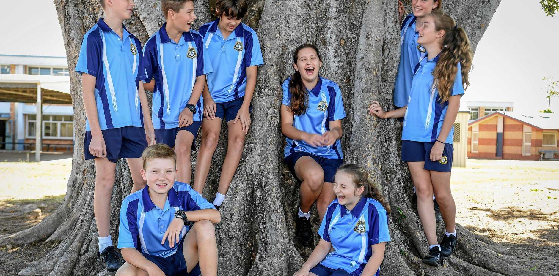 Bundaberg High School students Chris Collins, Sam Stuchbery, Josh Anderson, Scarlett Wallace, Lucy Steindl, Cadence Taylor, Fletcher Churchill and Sarah Warren.