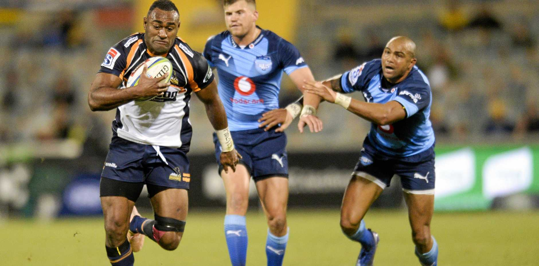 The Brumbies' Tevita Kuridrani shows the Bulls a clean pair of heels at Canberra's GIO Stadium on May 24. Picture: Rohan Thomson/AAP