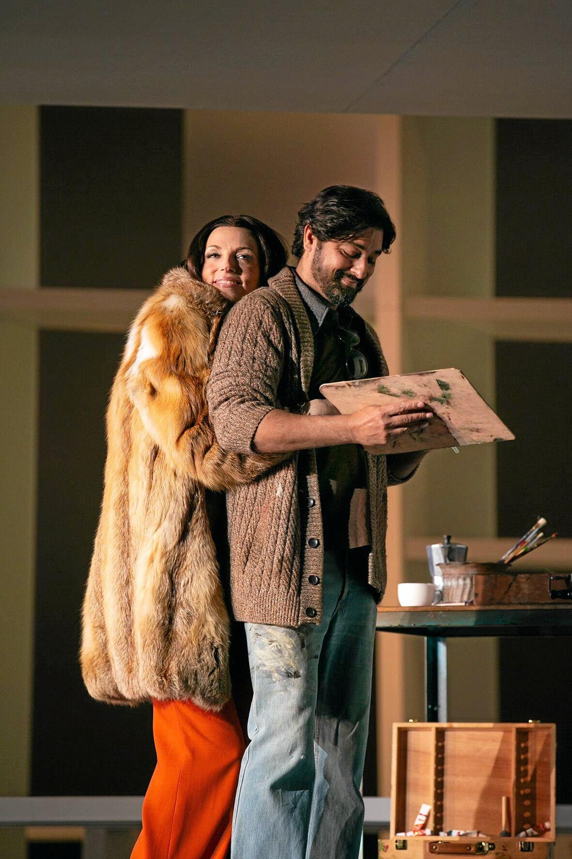The doomed love story of Tosca (Rachelle Durkin) and Cavaradossi (Angus Wood) is a central theme through Tosca.
