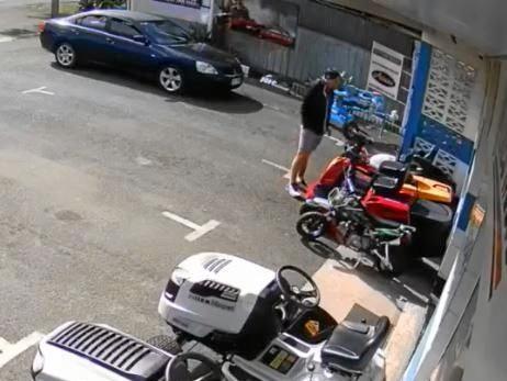 WATCH: Man caught on CCTV taking motor bike
