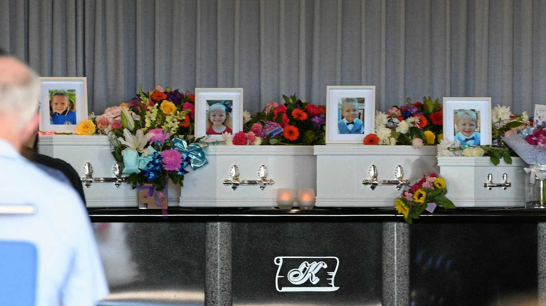HEARTFELT FAREWELL: The coffins of crash victims Aaleyn, 6, Matilda, 5, Wyatt, 4, and two-year-old Zaidok McLeod.