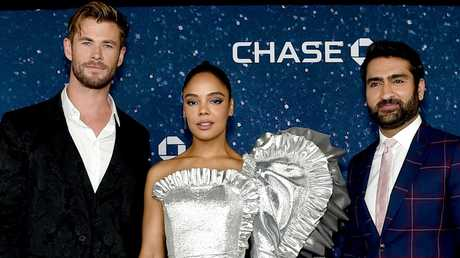 Chris Hemsworth, Tessa Thompson, and Kumail Nanjiani at the MIB premiere in NYC. Picture: Jamie McCarthy/Getty Images