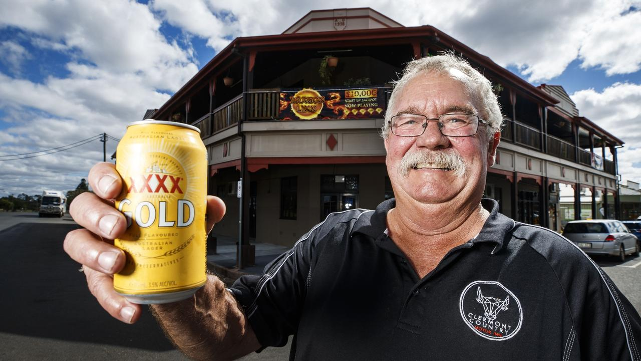 Publican Roger Vine outside his Commercial Hotel in Clermont. Picture: Lachie Millard
