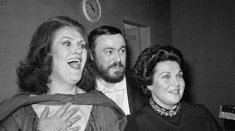 Backstage with Soprano Joan Sutherland (l) in 1979. Picture: AP Photo/Carlos Rene Perez
