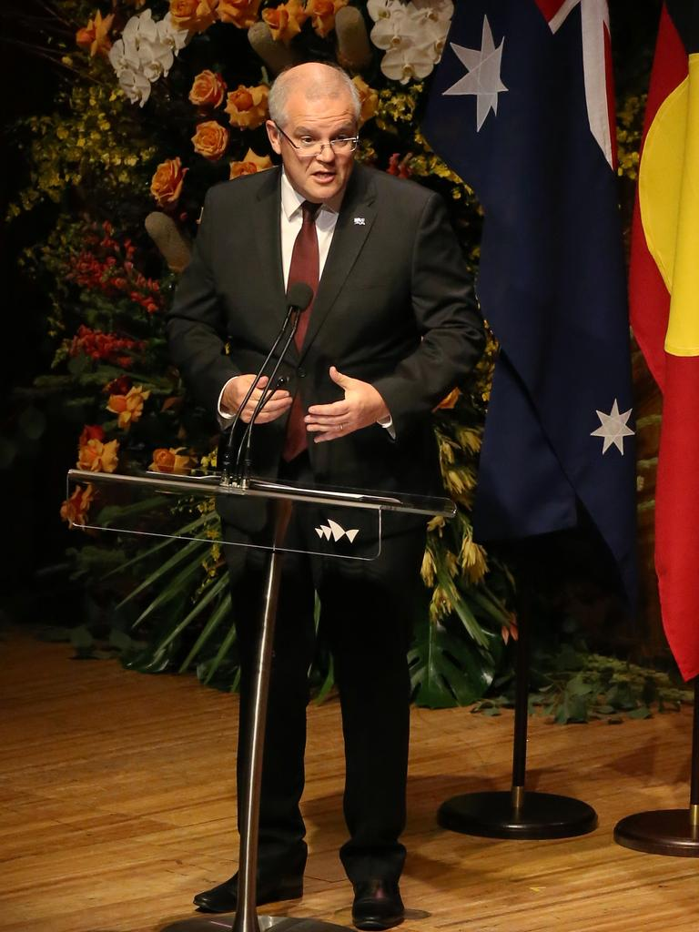 Prime Minister Scott Morrison at the State Memorial Service. Picture: Richard Dobson