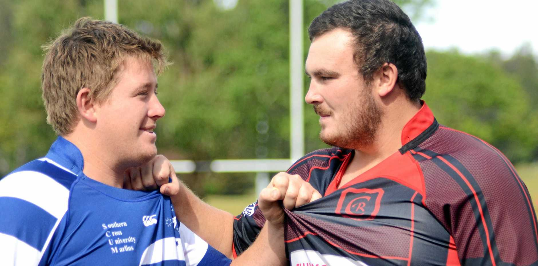 LET'S GET IT ON: Matthew Potts and James Bellamy were teammates last weekend. Today they'll be into each other.