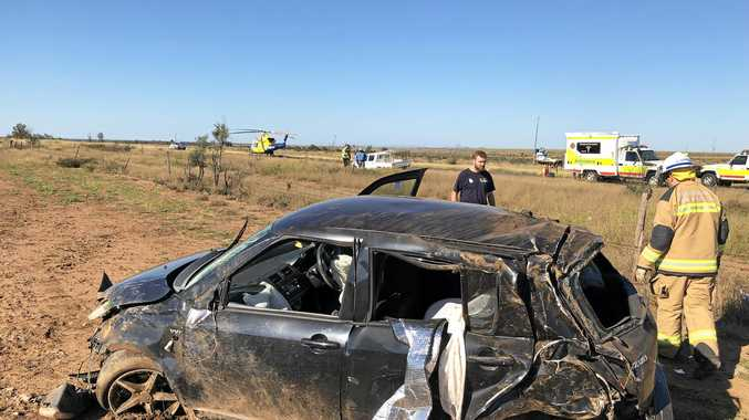 Young woman airlifted after rolling car near Dingo