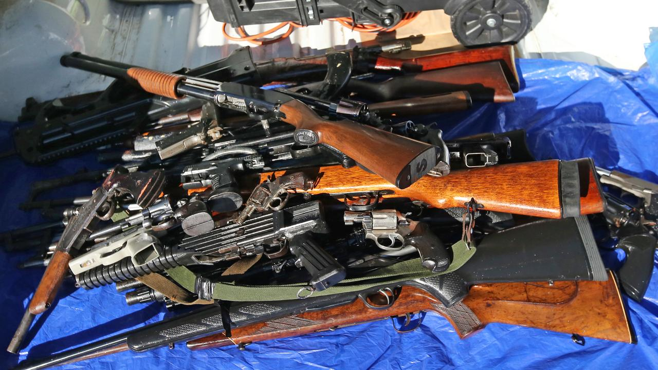 Dozens of guns and weapon paraphernalia were seized from an abandoned car in Padstow Heights.