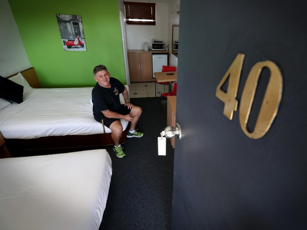 Motel owner Jason Mappas in the infamous Room 40. Picture: Jamie Hanson