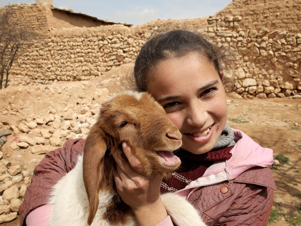 Asma, 11, with one of five sheep offering her family hope of a brighter future in the village of Halaya near Homs. Picture: Ella Pellegrini