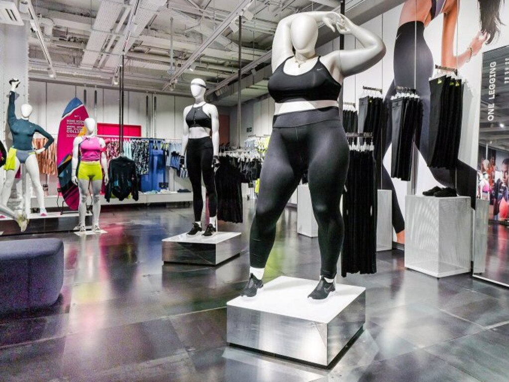 Nike's new plus-sized mannequins in their London NikeTown store. Picture: Nike