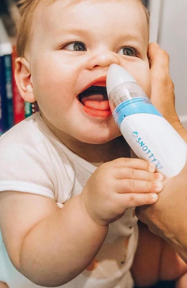 The Snotty Noses aspirator is a battery-powered snot sucker that clears a baby's nose in seconds so they can breathe, feed and sleep better.