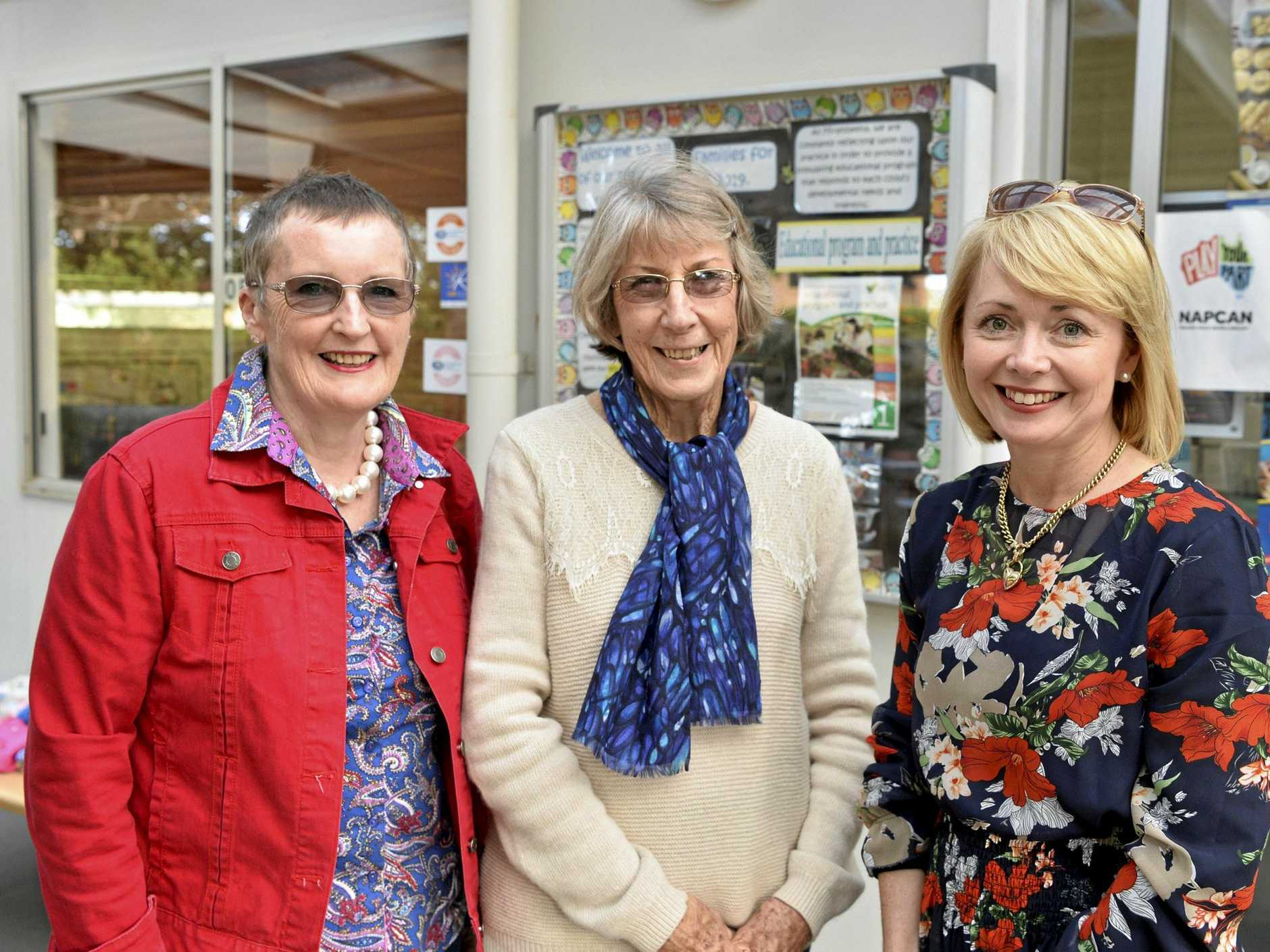 Returning to celebrate are former teachers of Mirambeena Children's Centre (from left) Mary Dolphin, Jenny Newman and Lisa McDonald.
