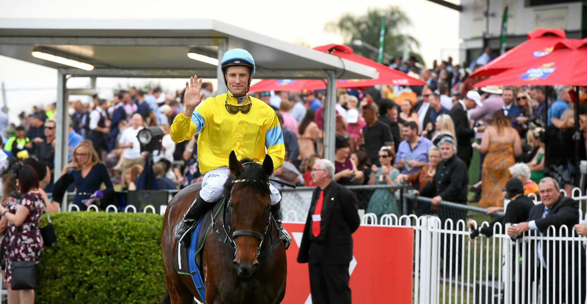 City Of Ipswich Eye Liner Stakes won by Man Booker ridden by jockey Blake Shinn. Trainer Daniel Morton.