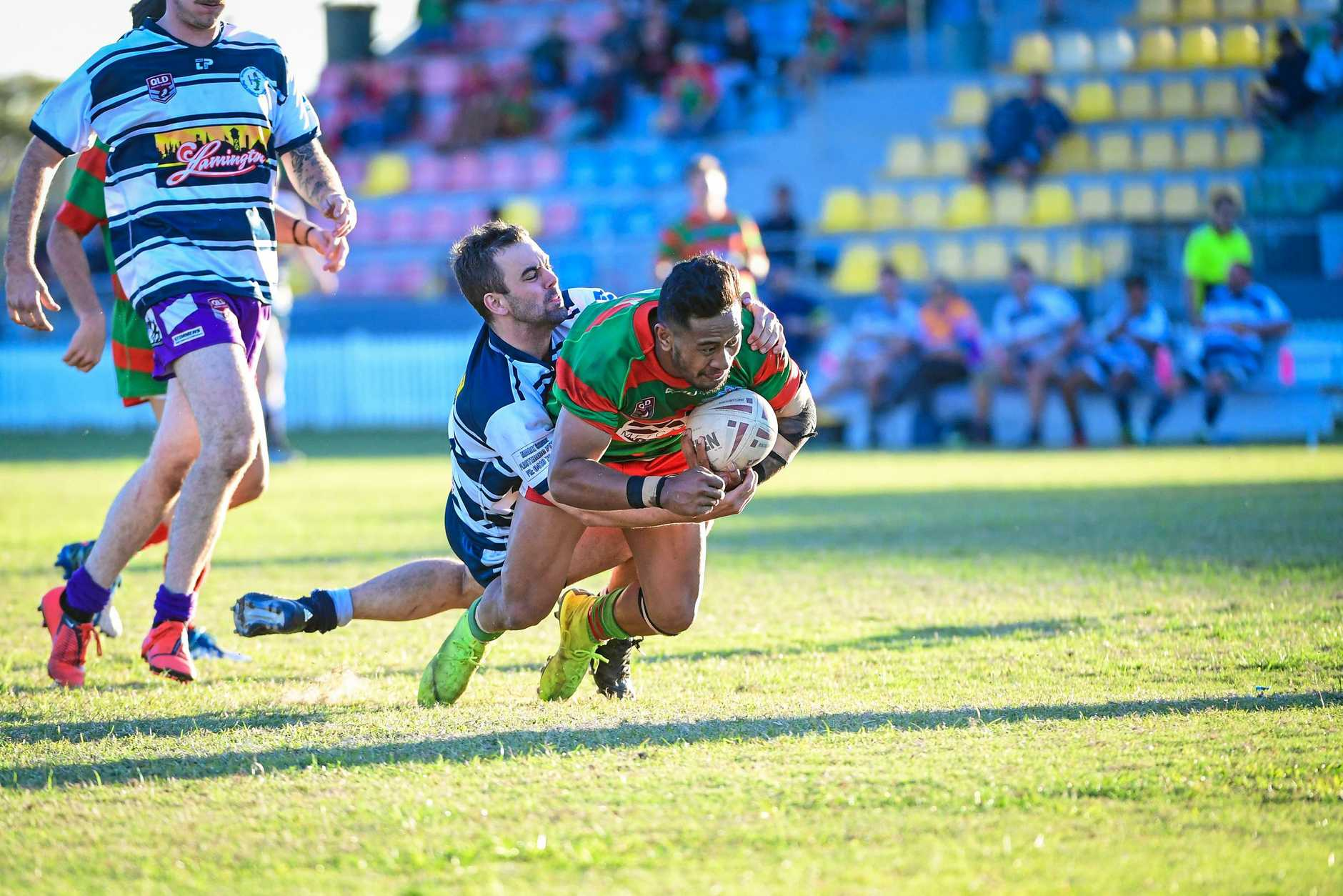 TRY: Ben Otter is unable to stop Logona Vetemotu scoring another try for Hervey Bay Seagulls.