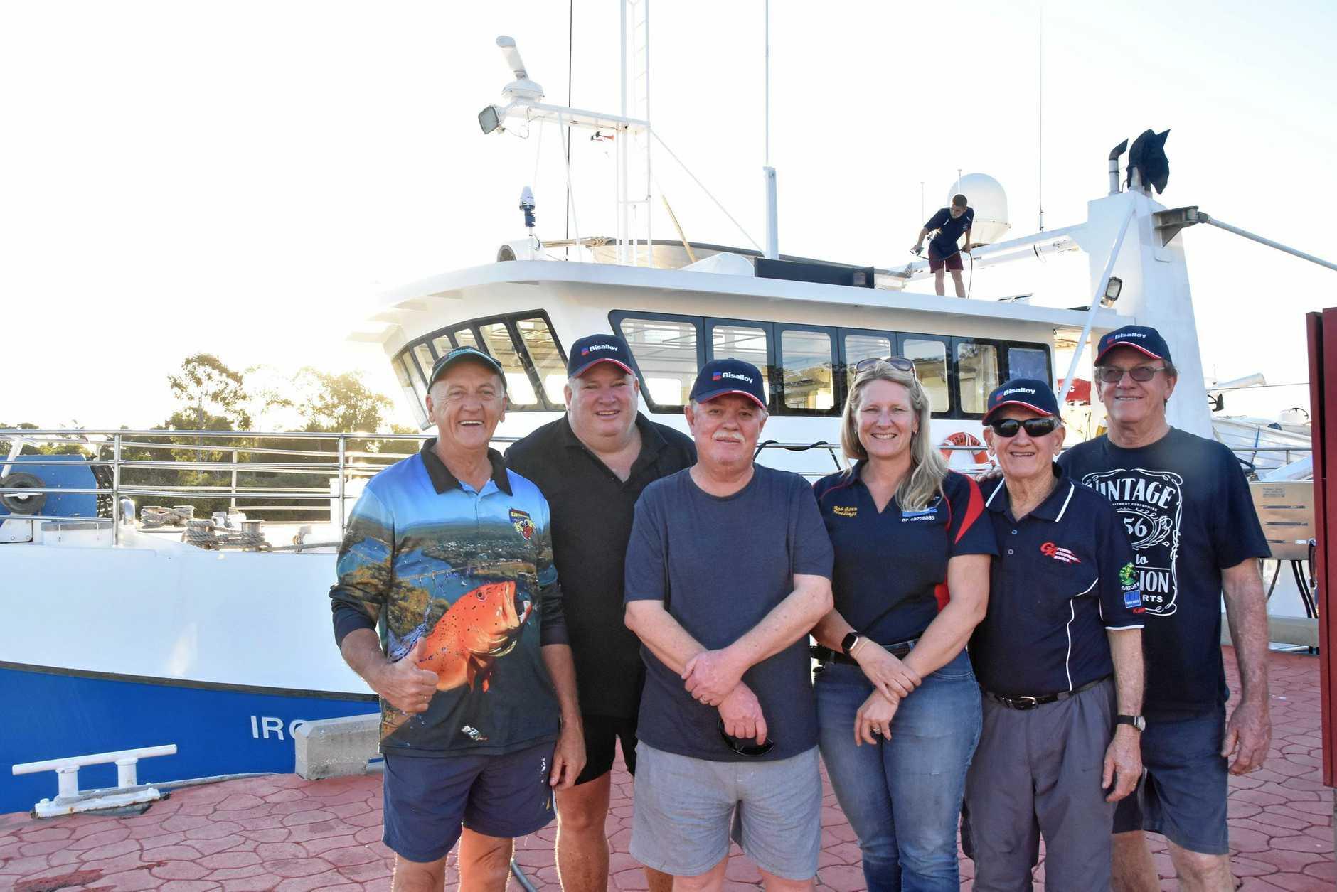 READY TO GO: Glenn Churchill, Brian Mepham, Kim Pascoe, Anita Benn, Russ Pedwell and Bruce Whitfield ready to board the Iron Joy in Gladstone on Friday.
