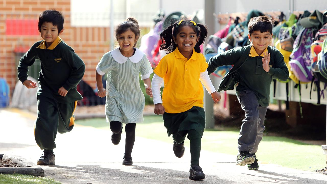 Pupils like Girraween Public School's Andrew Cheng, 6, Aiza Lalani, 5, Gamana Pasupuleti, 5, and Aarnav Matlani, 5, could soon have phonics tests. Picture: Tim Hunter