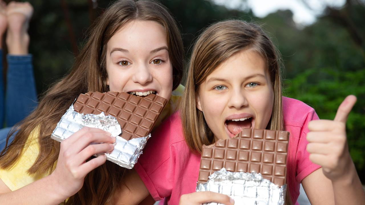 Lilly Koot, 13 and Lili Gay, 13, enjoying some chocolate. Picture: Sarah Matray
