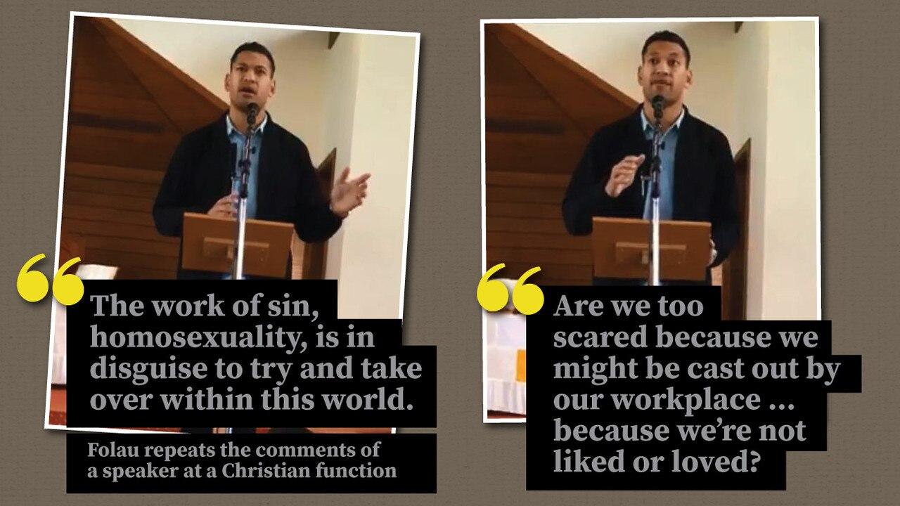 Israel Folau delivering his sermon on Sunday.