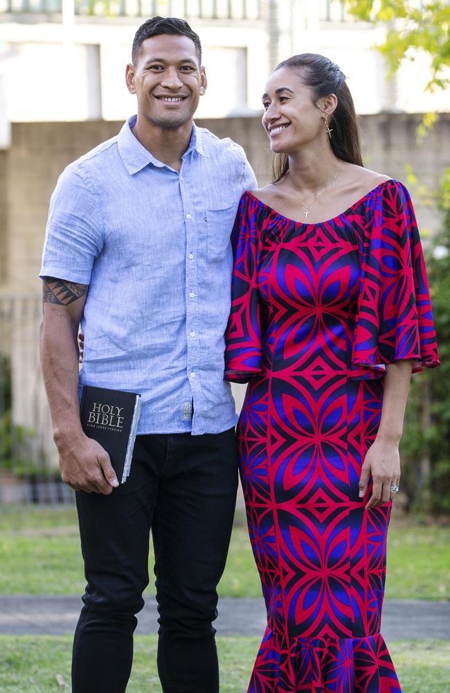 Israel Folau with his wife Maria Folau. Picture: Hollie Adams/The Australian