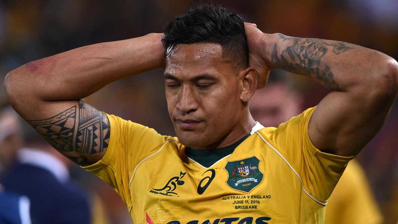 Israel Folau as a Wallaby. Picture: AAP Image/Dave Hunt