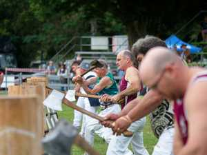Wood chopping competition at the Pioneer Valley Show