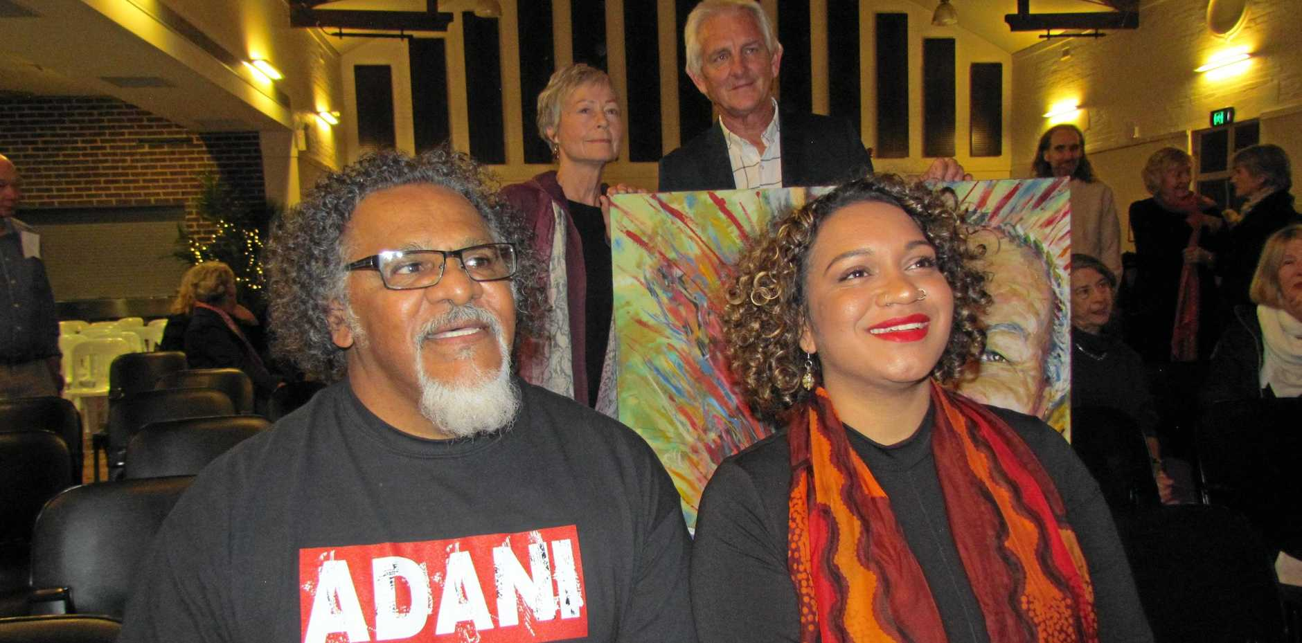 Anti-Adani mine campaigners Adrian Burragubba and Murrawah Johnson.
