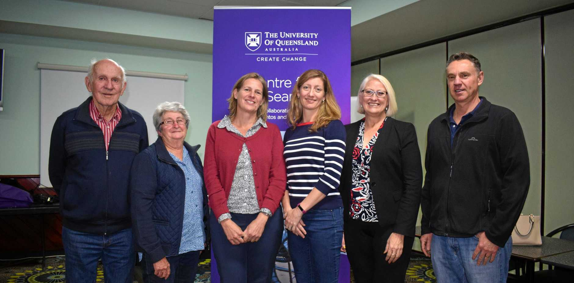 RESEARCH: Harold and Beryl Rennick, Dr Kathy Witt, Prof Nicole Gillespie, Cr Kaye Maguire, and Greg West at the 'What happens when CSG comes to town?' workshop.