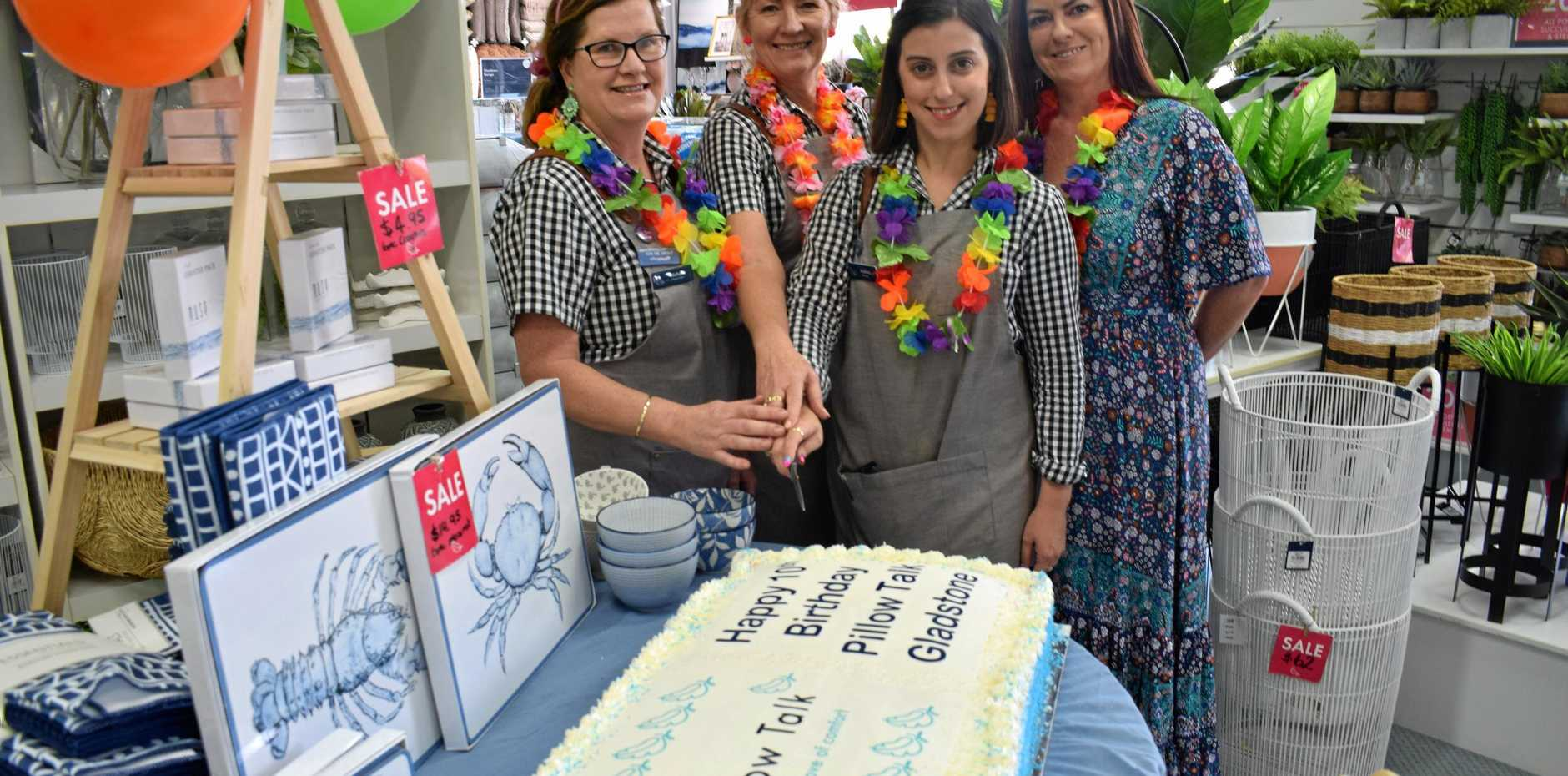 Pillow Talk staff Michelle Burke, Cathy Twiner, Helena Sant (manager) and Renee Donovan (2IC) are celebrating 10 years in Gladstone.