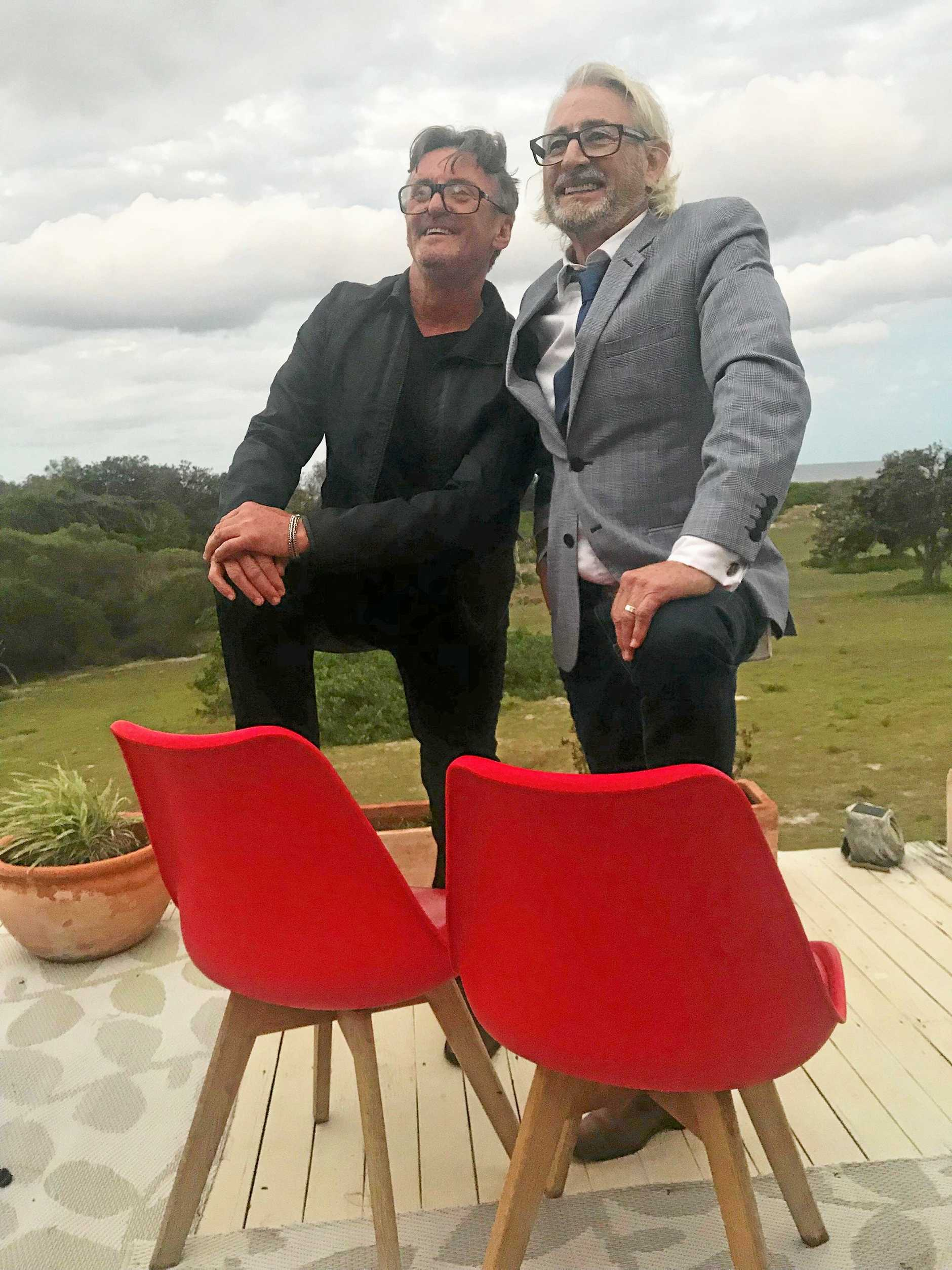 Music producer Mark Edwards and Petrol Records owner Chris Murphy in Ballina introducing Mystify - A Musical Journey With Michael Hutchence Soundtrack.