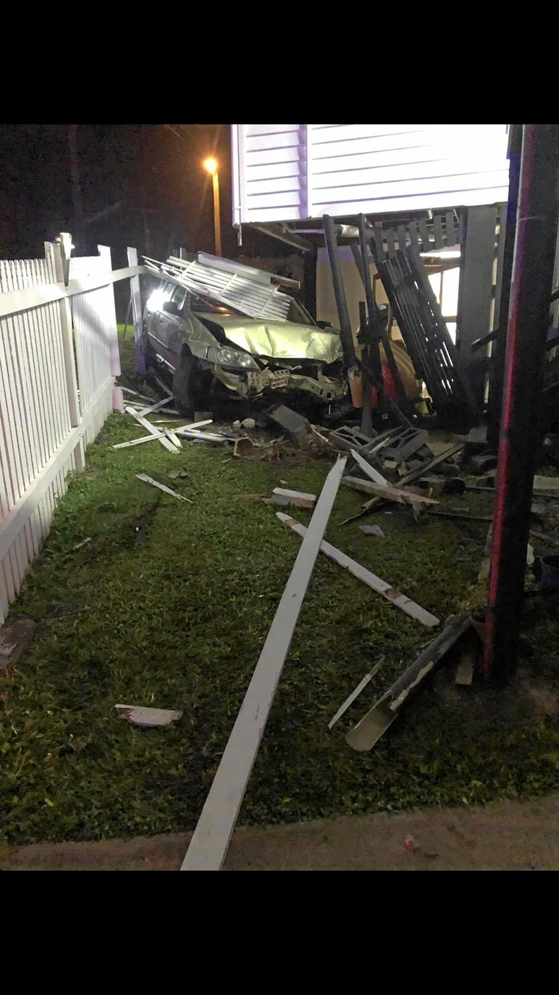 SHOCK CRASH: A car ploughed into a house on Horseshoe Bend in the early hours of Saturday morning.