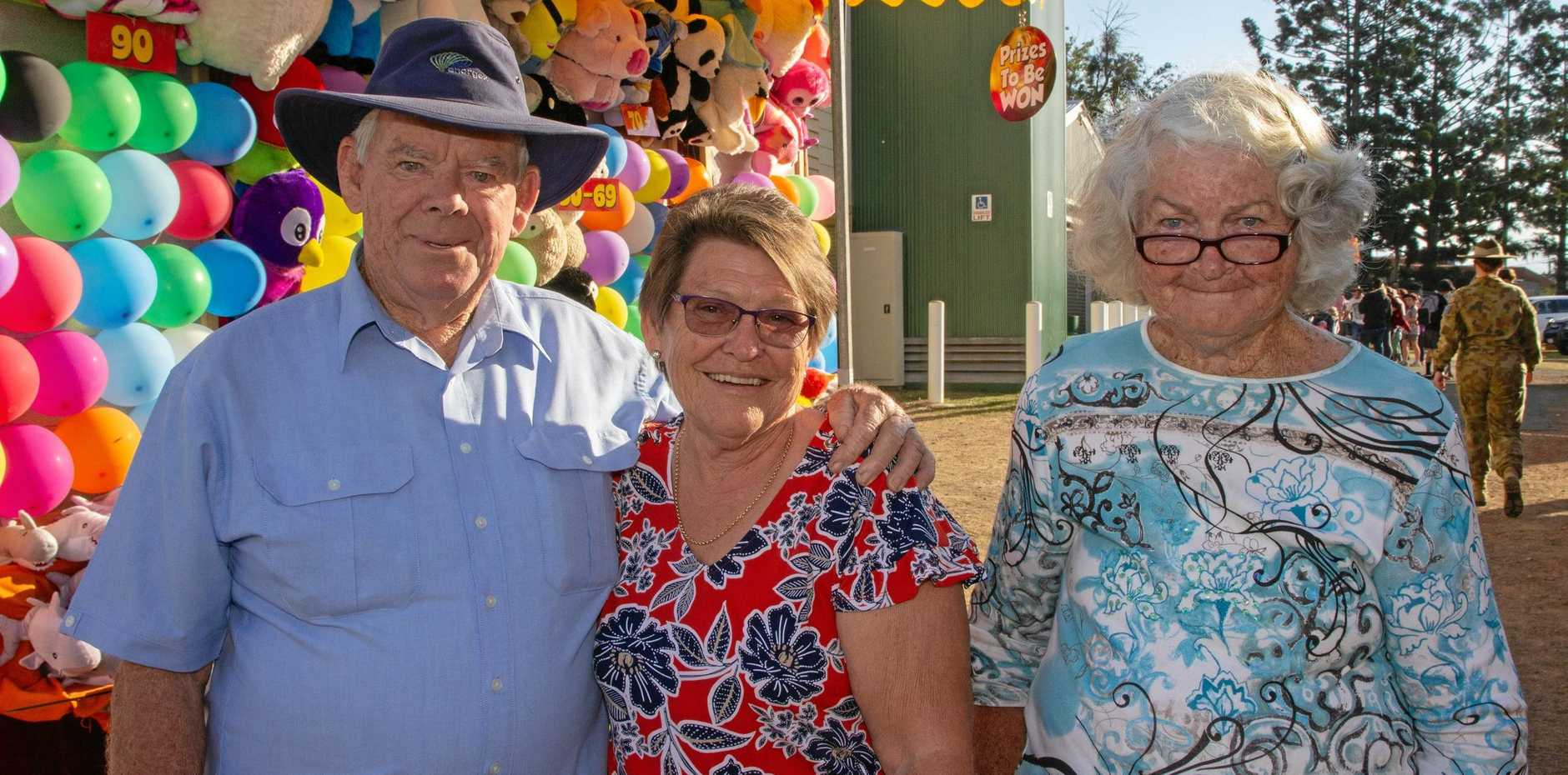 FUN IN THE SUN: Harry and Nola Swan with Gwen Stumer enjoyed themselves at the 2019 Lowood Show. This year was the first time Nola had been to a Lowood Show since she was 15 years old.