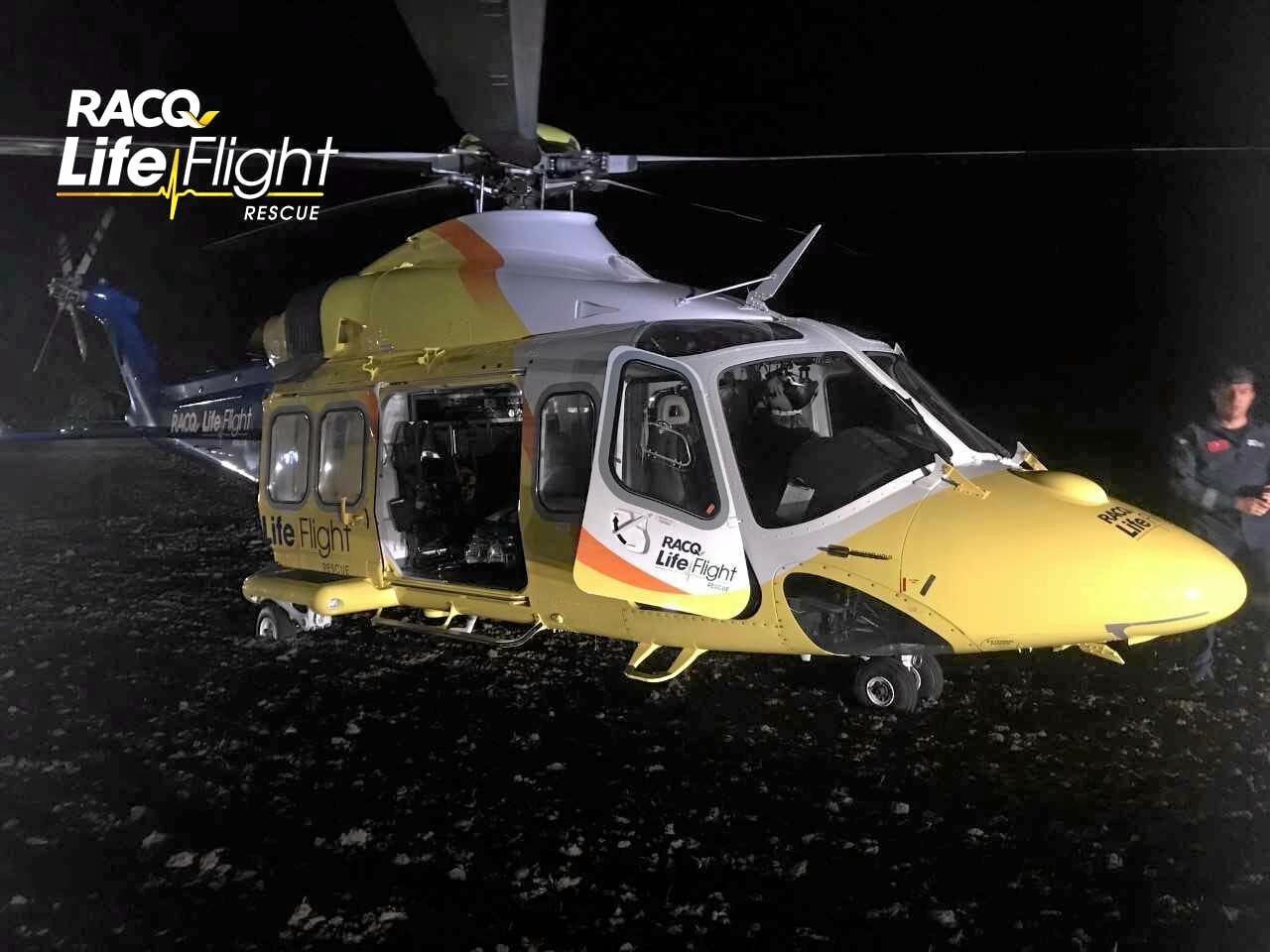 The Brisbane-based RACQ LifeFlight Rescue helicopter was tasked to the scene of the Manumbar Rally.