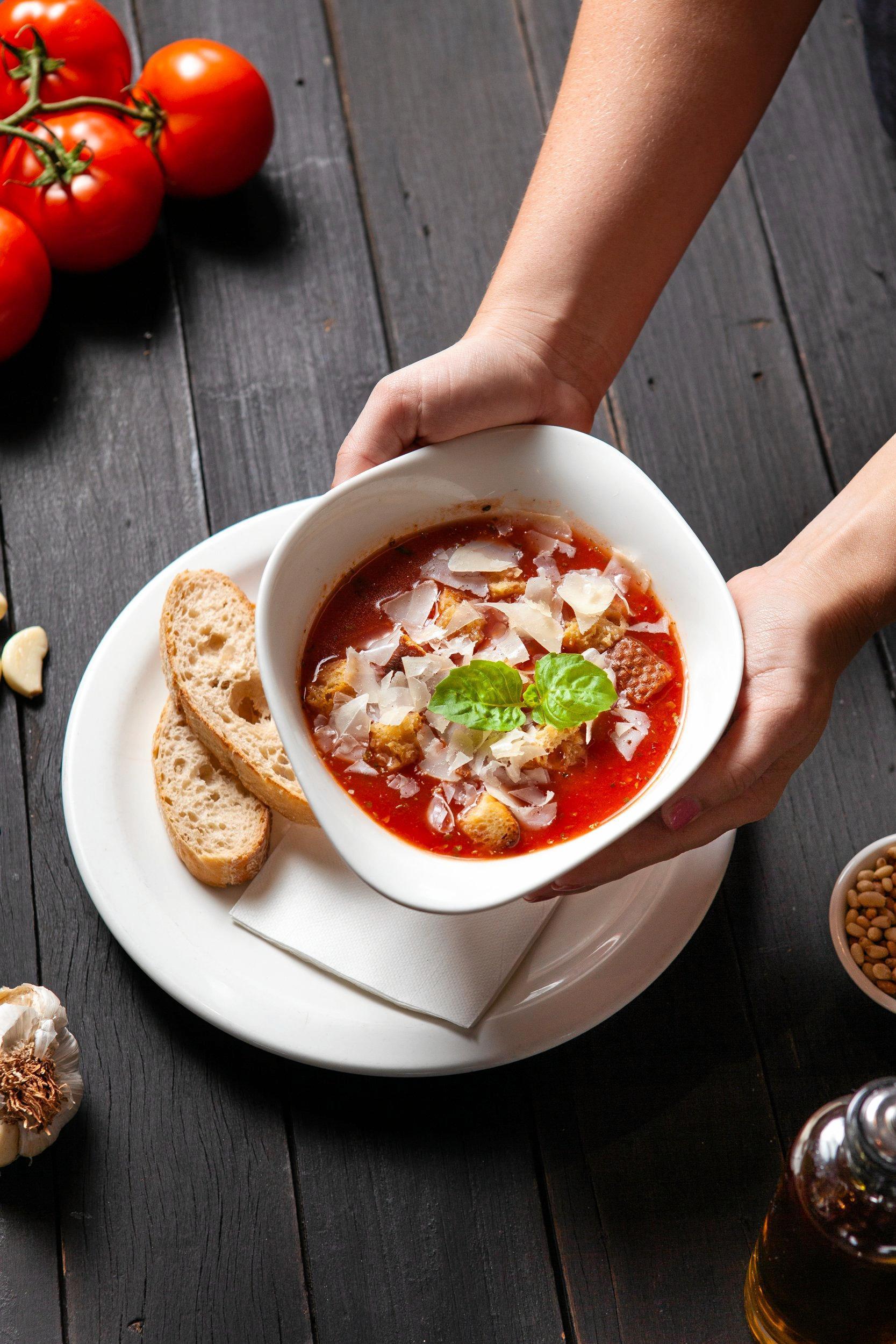 Cheap snacks in Toowoomba. Vapiano tomato soup.
