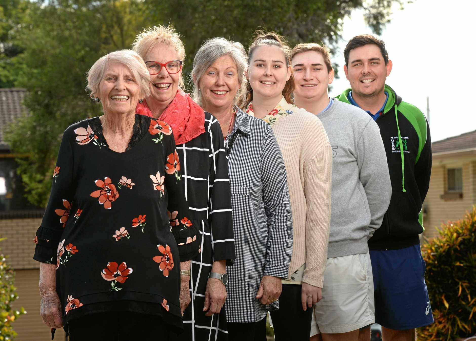 Three generations are in the Ipswich Orpheus Chorale . Bette Howard, Jesicca O'Sullivan, Debra Howard, Tyne O'Sullivan, Kye O'Sullivan and Rhys O'Sullivan.