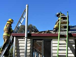 Roof catches fire amid construction works
