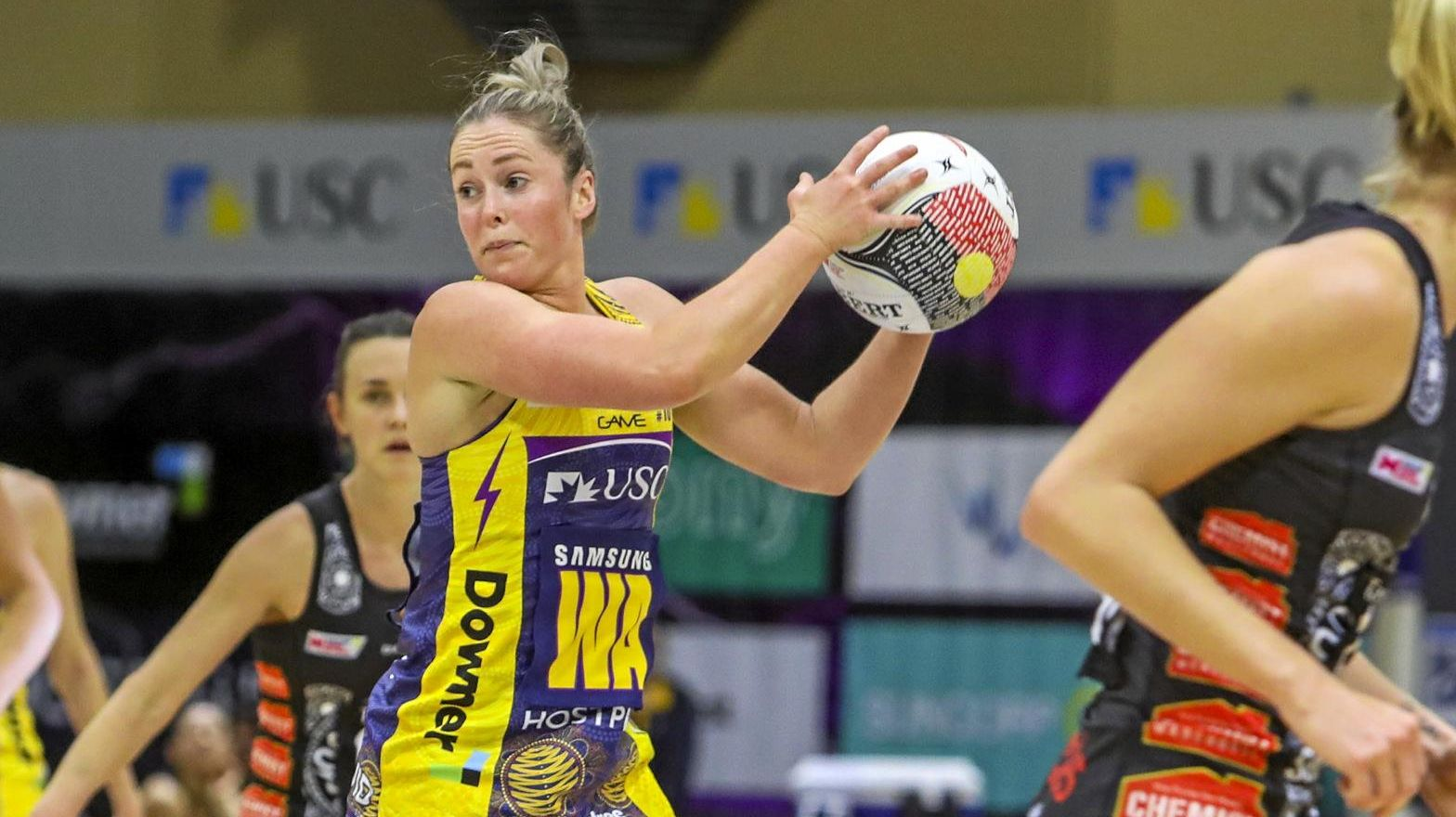 Laura Scherian of the Lightning with the ball during the Round 8 Super Netball match between the Sunshine Coast Lightning and the Collingwood Magpies at the USC on the Sunshine Coast, Saturday, June 15, 2019.