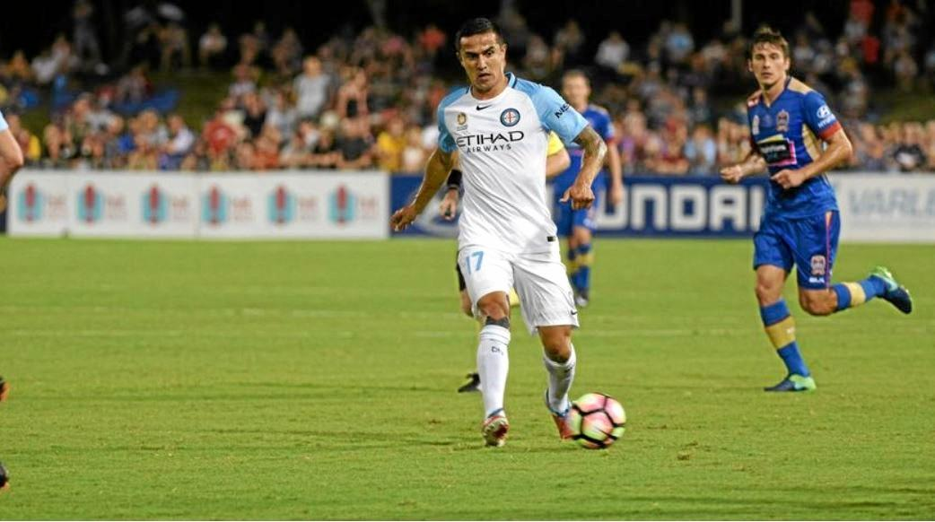 AUSTRALIAN HERO: Tim Cahill's appearance for Melbourne City in January 2017 was the last time professional sport was played at the C.ex Coffs International Stadium.