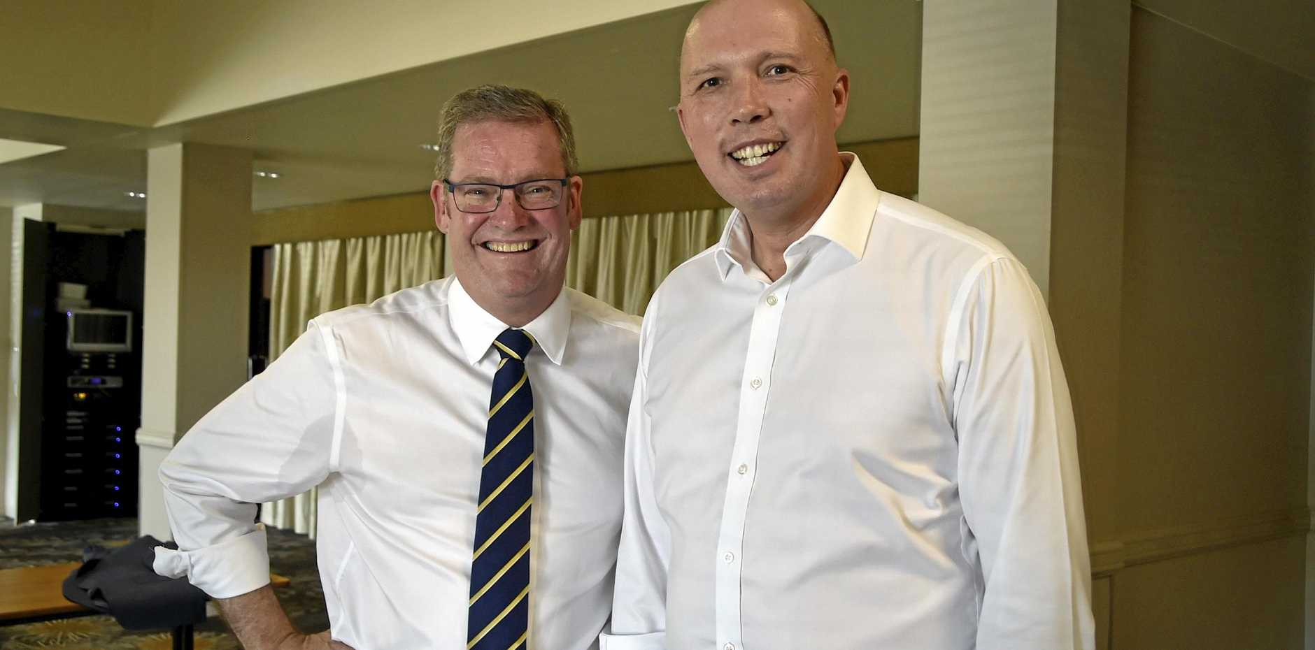 John McVeigh MP with Peter Dutton MP in Toowoomba. April 2018