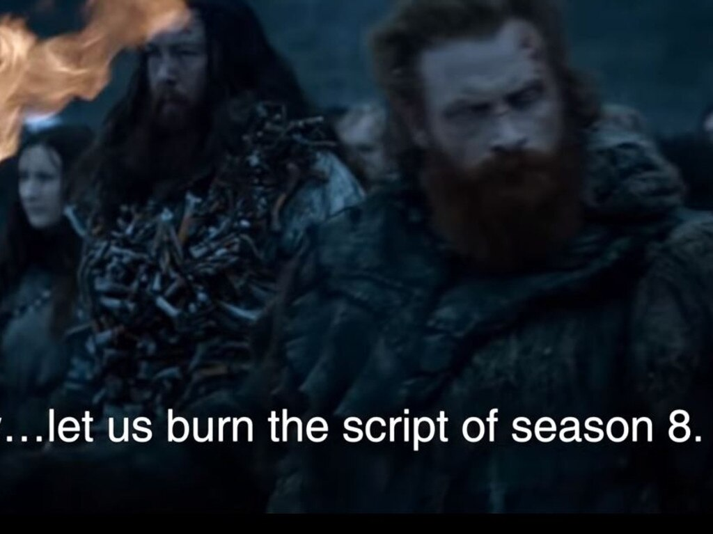 In the GoT 'deepfake' video, fans point out some of the shortcomings of the hit show's final season. Picture: YouTube