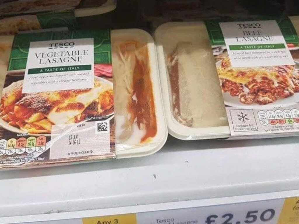 There's been outrage online after it was revealed the labels on these vegetarian and beef lasagnes were swapped in a 'dangerous' prank. Picture: Facebook/The Sun