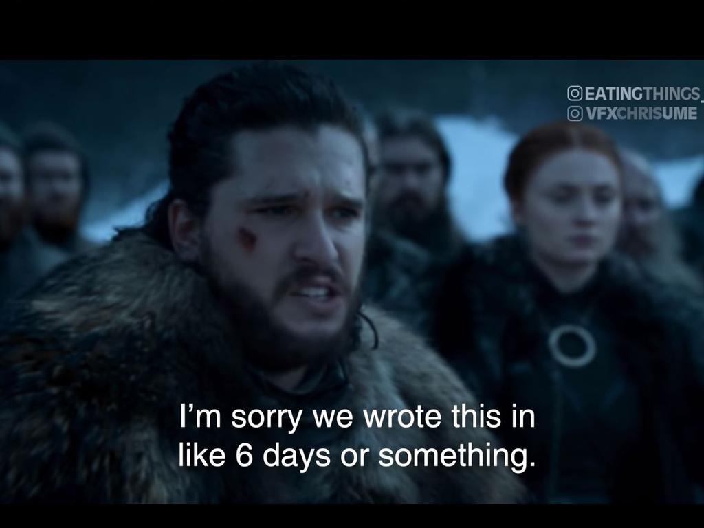 Jon Snow 'deepfake' video parodies how sloppy fans found season 8 of Game of Thrones. Picture: YouTube