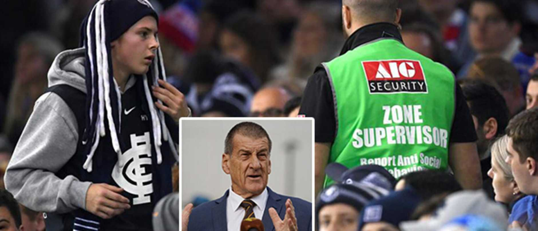 A fan is thrown out of Marvel Stadium. Inset: Jeff Kennett.