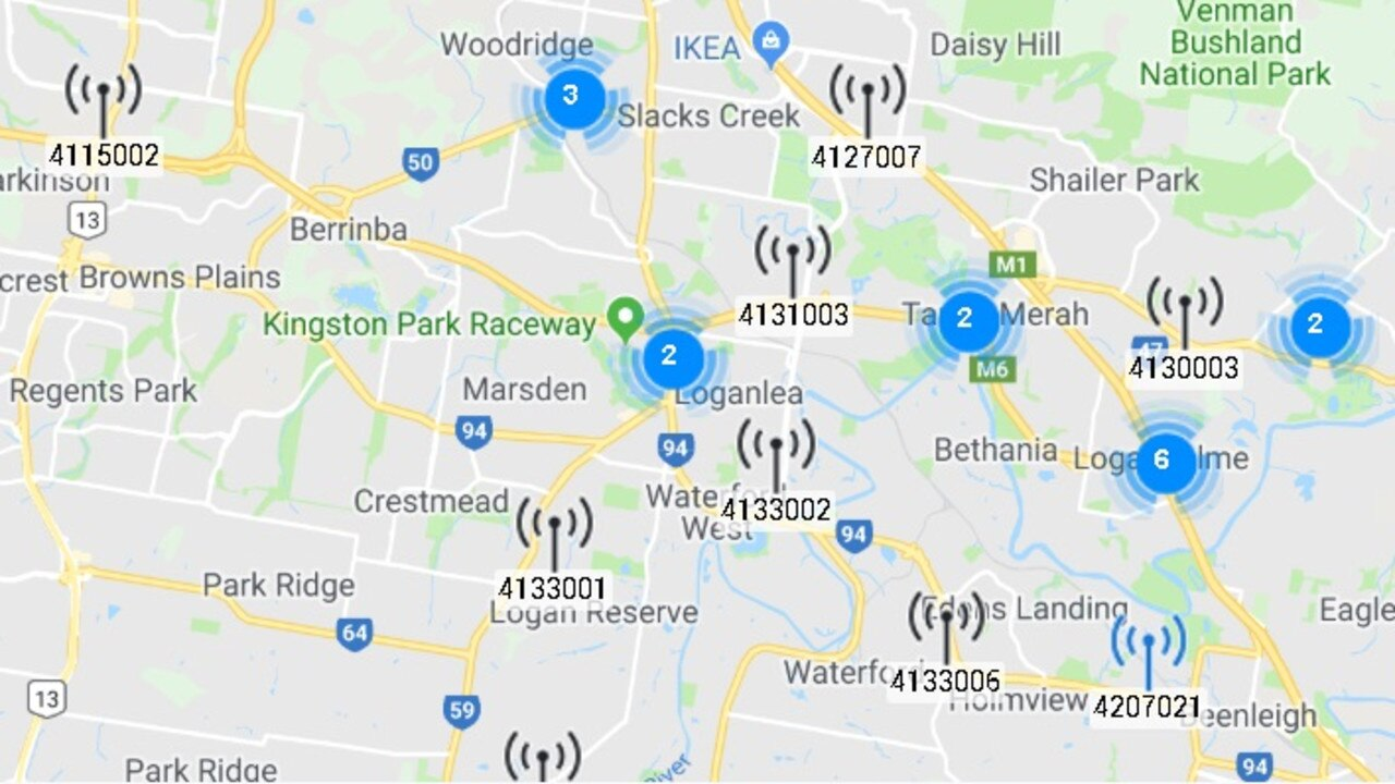 A map showing some of the locations for the 5G network in Logan.