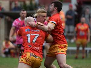 Sawtell's Jacob Conlan gets jammed in a tackle by
